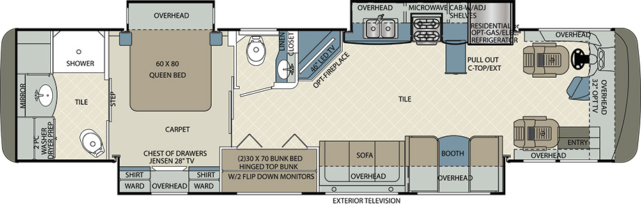 2017 Forest River Berkshire 38A Floor Plan