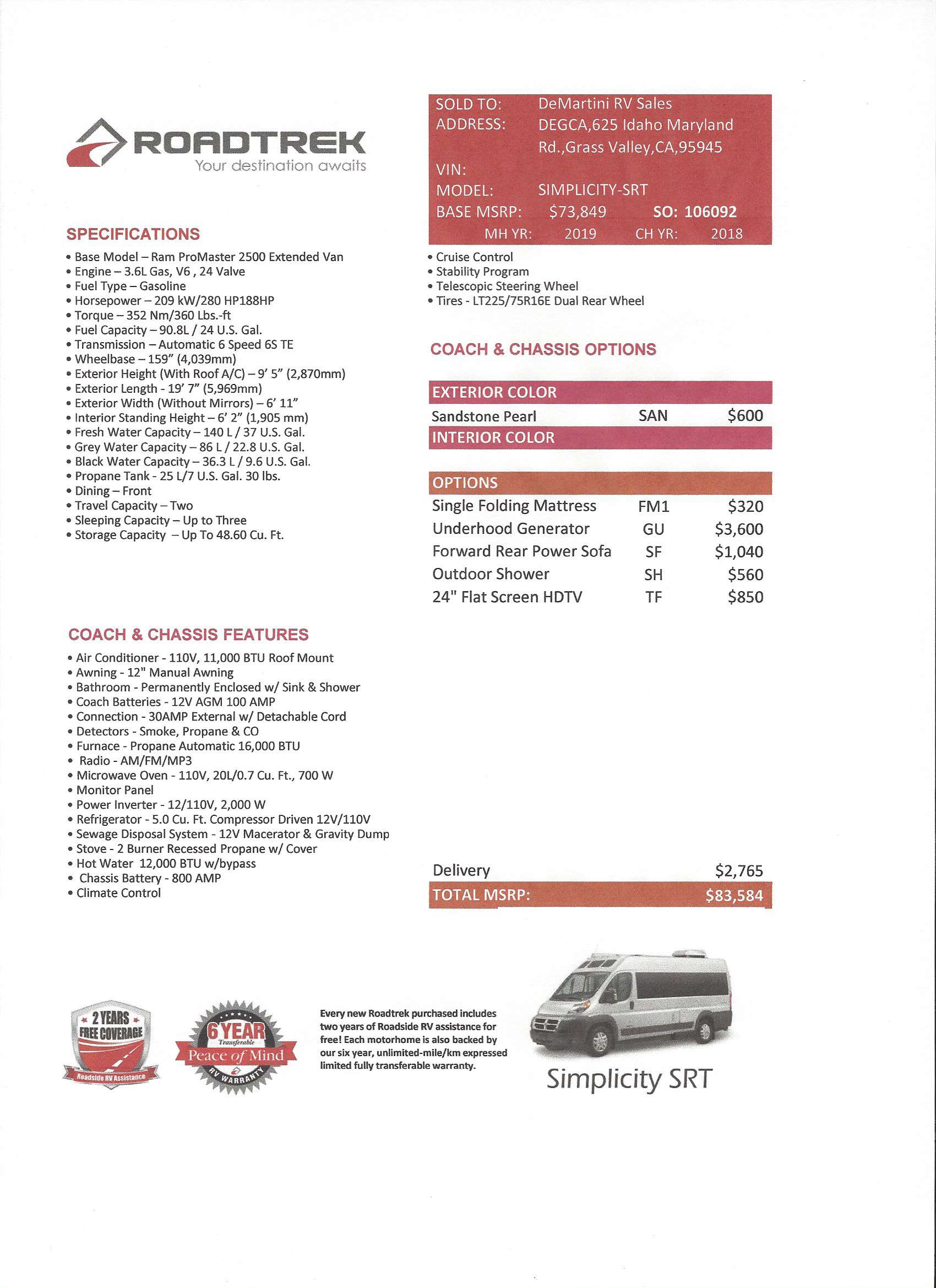 2019 Roadtrek Simplicity SRT MSRP Sheet