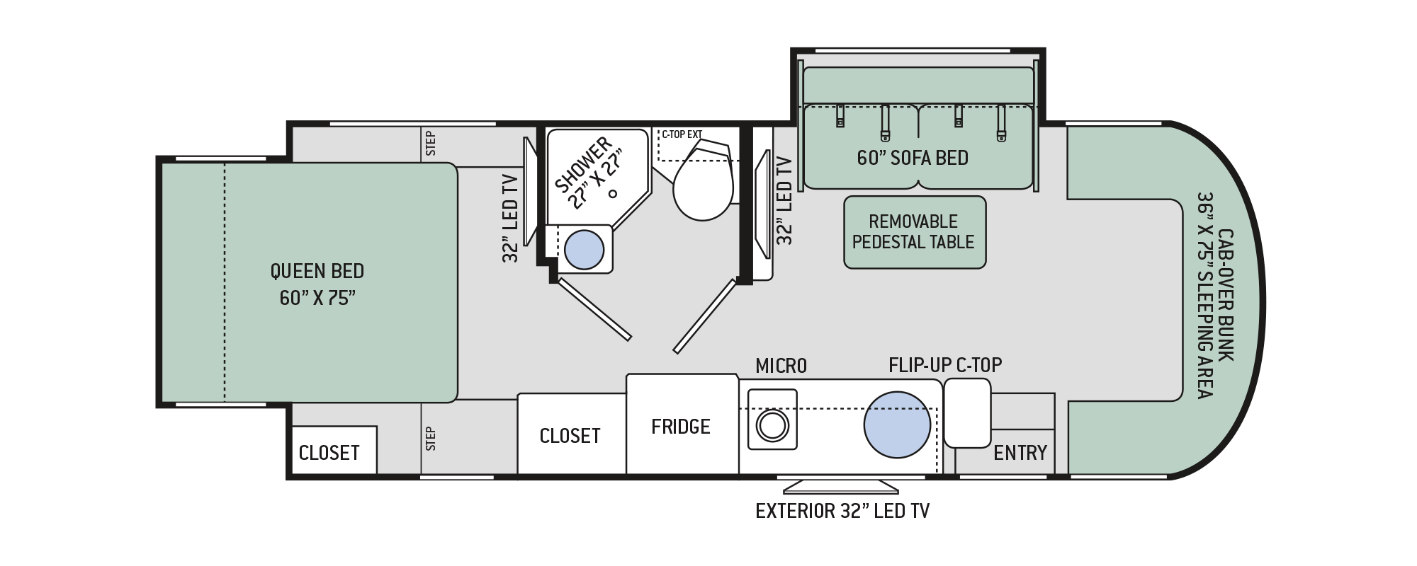 2018 Thor Citation Sprinter 24SR Floor Plan