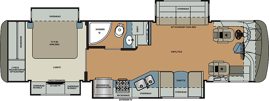 2019 Forest River Berkshire 34QS Floor Plan