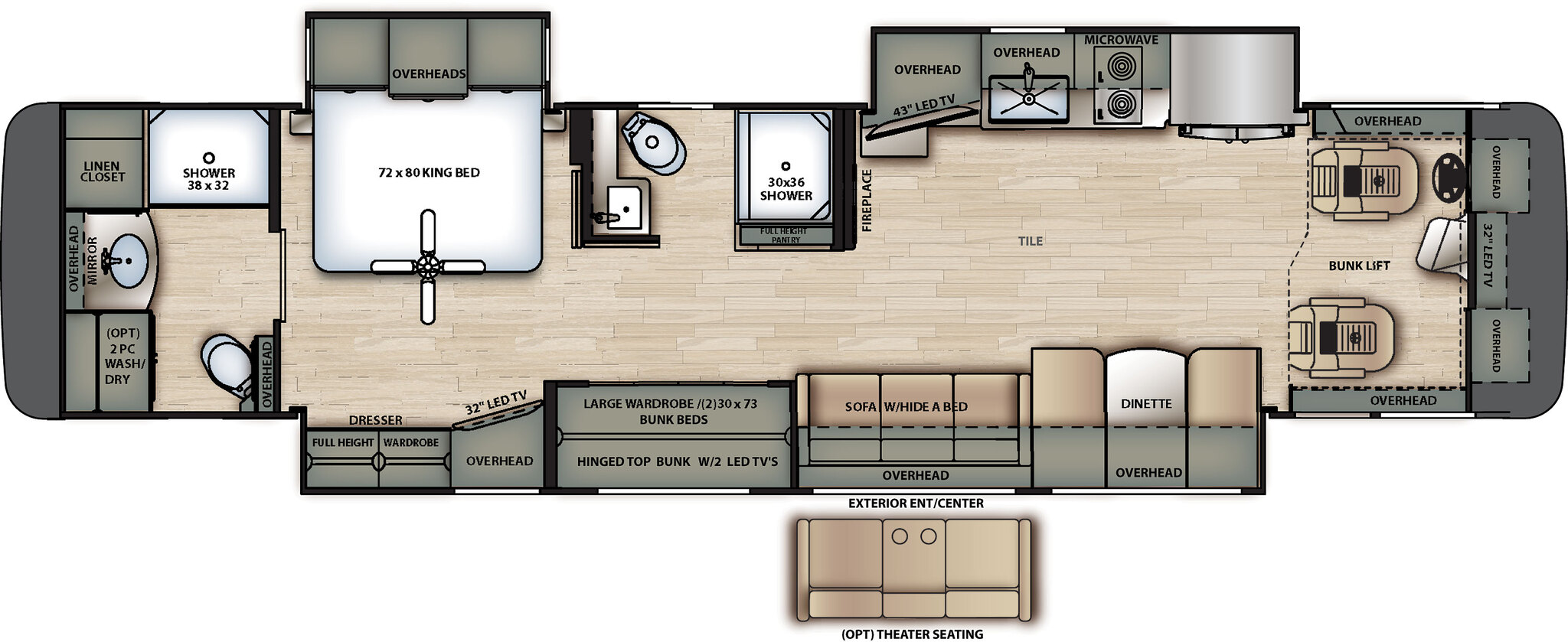 2020 Forest River Berkshire XL 40E Floor Plan