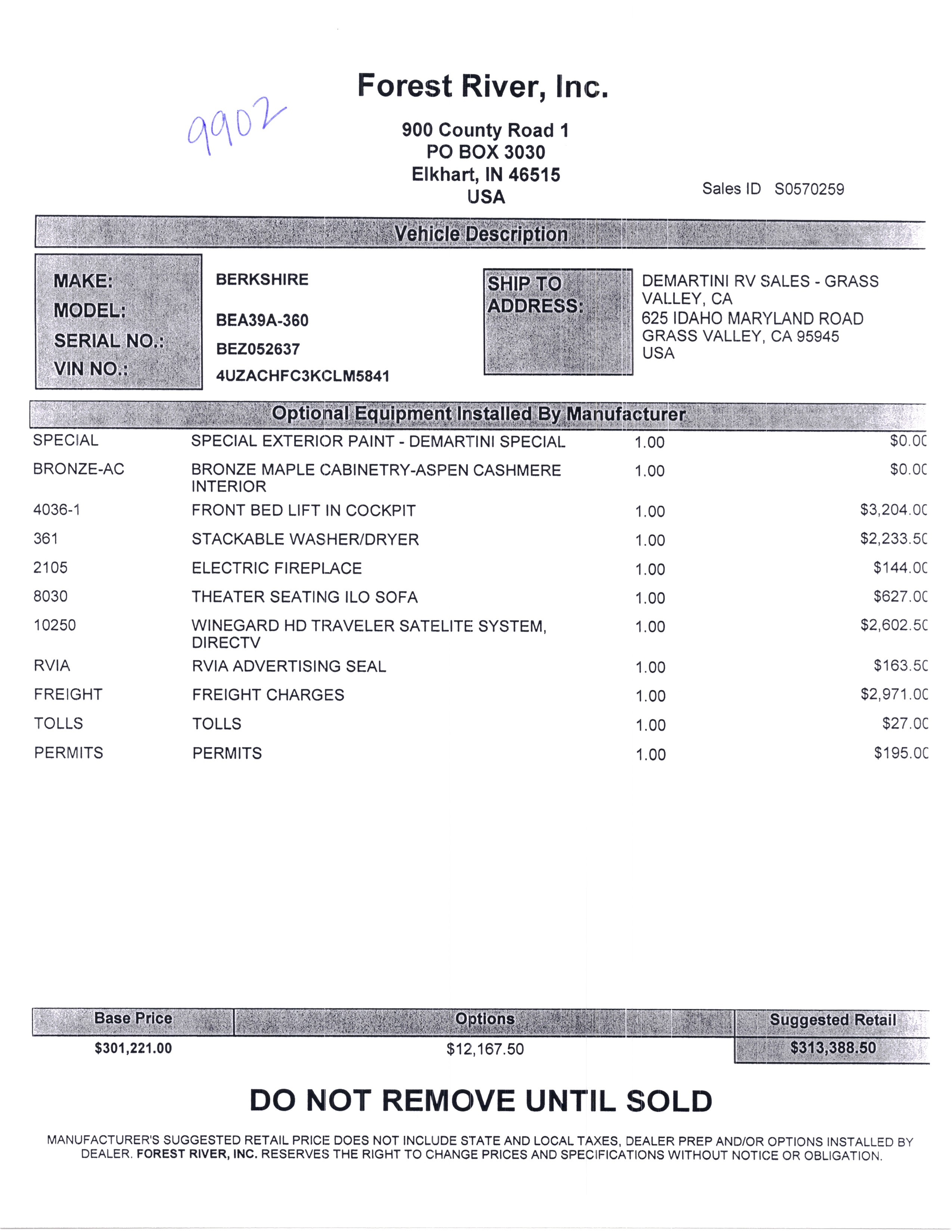 2020 Forest River Berkshire 39A MSRP Sheet