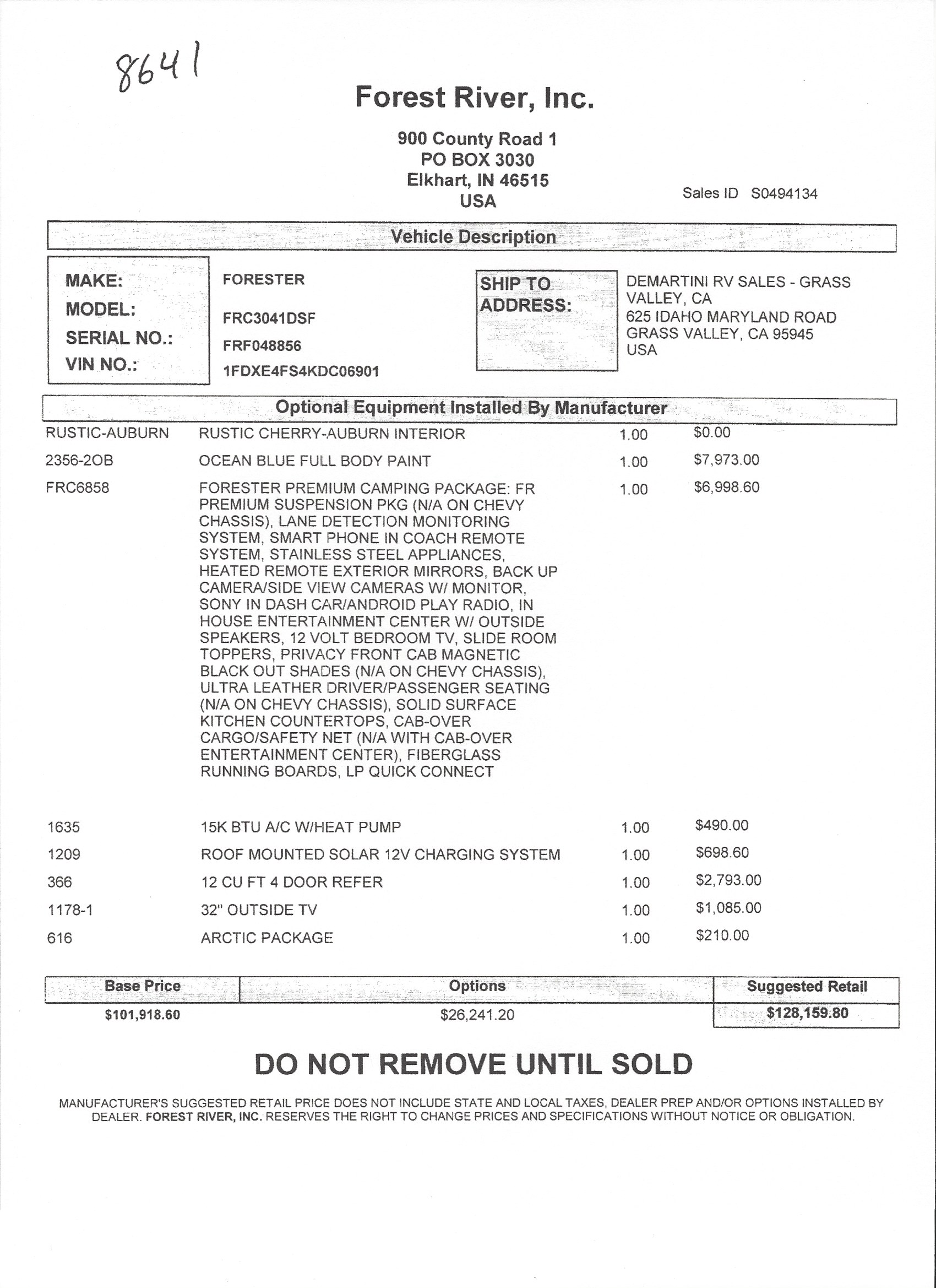 2019 Forest River Forester 3041DS MSRP Sheet